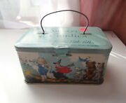 Vtg Antique United Candy Service Retail Stores Nursery Candie Tin Box Container