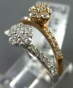 Estate .84ct Diamond 18kt White And Rose Gold Cluster Double Flower Stackable Ring