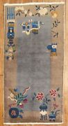 Antique Chinese Art Deco Rug Size 2and0391and039and039x4and039
