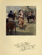 Horse Racing At The Starting Gate Jockey Whip Antique Color Print Horse Race