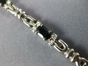 5.51ct Diamond And Aaa Sapphire 14kt White Gold Oval And Round Tennis Bracelet 1463