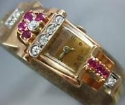 Antique Chalet .95 Diamond And Aaa Ruby 14kt Tri Color Gold Art Deco Watch 2291