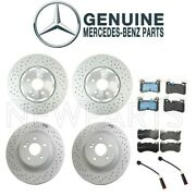 For Mercedes W204 C63 Amg Front And Rear Disc Brake Rotors And Pad And Sensors Kit