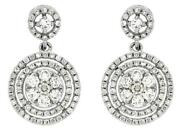 .86ct Diamond 14kt White Gold 3d Flower Double Halo Classic Hanging Earrings