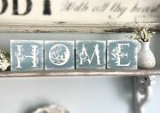 Home Wooden Floral Letter Sign Blocks, Wood Blocks With Hinges, Blue And White P