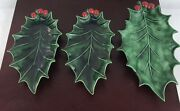 Vintage Set Of 3 Holland Mold Forest Green Holly Leaf And Red Berry Candy Dishes