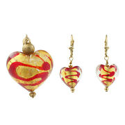 Ladies Estate 14k Yellow Gold Foil Heart-shaped Earrings And Pendant Jewelry Set