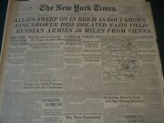 1945 April 1 New York Times Newspaper -allies Sweep In Reich Rout Grows- Nt 7285