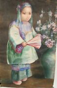 A.abrams Old Chinese Original Watercolor Girl With Fan Painting