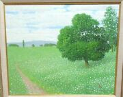 Chinese Original Oil On Canvas Green Field Tree Landscape Painting Signed