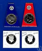 2019 Pdss Bu Silver And Clad Proof Kennedy Half Dollar Set-pd From Mint Sets