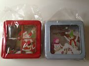 Lot Of 6 Brand New Decorative 7 Square Window Christmas Holiday Metal Tins