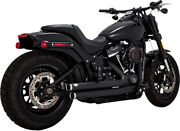 Vance And Hines Black Big Shots Staggered 2-2 Exhaust Pipes Harley Softail 18+