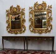 Pair 2 Antique Louis Xv Country French Hand Carved Golden Oak Consoles C 1880