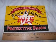 Vintage Honorary Member Prairie Farmer Wls Protective Union Sticker Sign