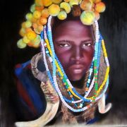 Original Oil Painting Of A Tribal African Man With Colorful Beads World Ethnicandnbsp