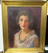 William G.shnelle 1897-1956 Young Woman Original Oil On Canvas Painting