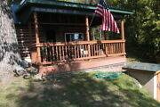 Rustic Log Cabin Home Located On Beautiful Thunder Bay River W/ View And Frontage