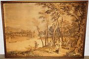 Antique Large 7 Feet Wide Country French Tapestry Forest Wagon Boats Castle 1870
