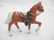 Vintage Painted Cast Iron Toy Horse Chain Reins Paint Loss Brown And White 2.5x3