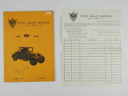 1973 Rock Valley Il Antique Ford Car Parts Catalog Model A W/ Order Form
