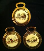 Set Of 3 Rare Vintage Horse And Carriage Porcelain Harness Brasses Wow Your Walls