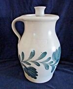 Salmon Falls Stoneware Pottery Covered Crock Candle Holder Lid, Green Leaf, 2004