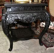 Antique European Highly Carved Victorian Mahogany Side Table W Shelf Circa 1890