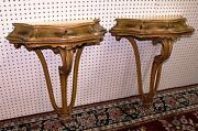 Antique Pair Carved Hand Painted Country French Wall Consoles Louis Xv C1890