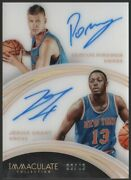 2015-16 Kristaps Porzingis Jerian Grant Immaculate Collection Auto 36/49 Rc