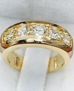 1.50 Ct 14k Solid Yellow Gold Ladies Natural Diamond Ring 5 Stone Made In Usa