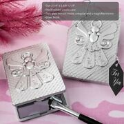 24-120 Angel Themed Silver Mirror Compact Religious Wedding Baptism Party Favor