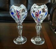 Pair Rare Millville Mantle Ornament Footed Paperweight Glass Obelisks Faceted