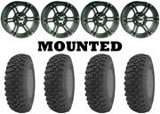 Kit 4 Gbc Kanati Terra Master Tires 26x10-14 On Itp Ss212 Matte Black Wheels 550