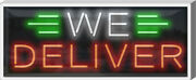 Outdoor We Deliver Neon Sign | Jantec | 37 X 15 | Pizza Pharmacy Take Out Dine