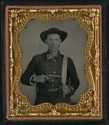 Photo Civil War Confederate Baby Colt Dragoon Revolver And D Guard Bowie Knife