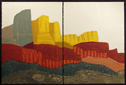 John Ross Cliff Formation Signed Numbered Collagraph Art Landscape Diptych Obo