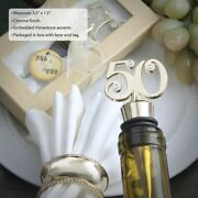 10-72 Gold 50th Wine Bottle Stoppers Anniversary Birthday Favors
