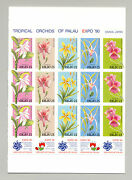 Palau 241a Orchids Expo 90 3v Strips Of 5 On 1v Proof Unissued Denominations