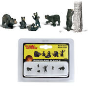 Woodland Scenics Accents A2186 Figures - Black Bears - Pkg 6 N Scale
