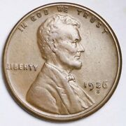1926-s Lincoln Wheat Small Cent Choice Au Free Shipping E187 Knl