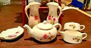 Antique Vintage Teapot With Sugar And Creamer- Small Antique Pitchers Marked Vin