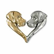 Great Dane Jewelry Silver And 14k Gold Handmade Great Dane Slide Pendant Gd15-t