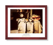 Seashell Victorian Clock Contemporary Wall Picture Cherry Framed Art Print
