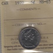 1970 Canada Five Cents Nickel Coin. Iccs Ms-65