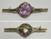 C1156 Vintage Handmade 14k Solid Yellow Gold Lab-made Pink Sapphire Pin/brooch