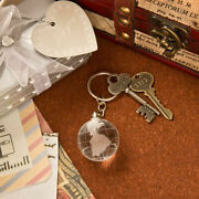 20-144 Crystal Glass Globe Key Chain - Travel Themed Wedding Shower Party Favors