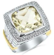 Large 8.28ct Diamond And Aaa Lemon Quartz 14kt 2 Tone Gold 3d Cushion And Round Ring