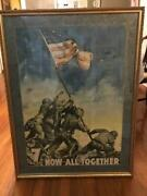Wwii 7th War Loan Poster Now All Together 26 X 36 Flag Raising Iwo Jima 1945