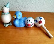 Lot Of 4 Vintage Hard Plastic Celluloid Baby Rattles Toys Blue Duck Goose Clown